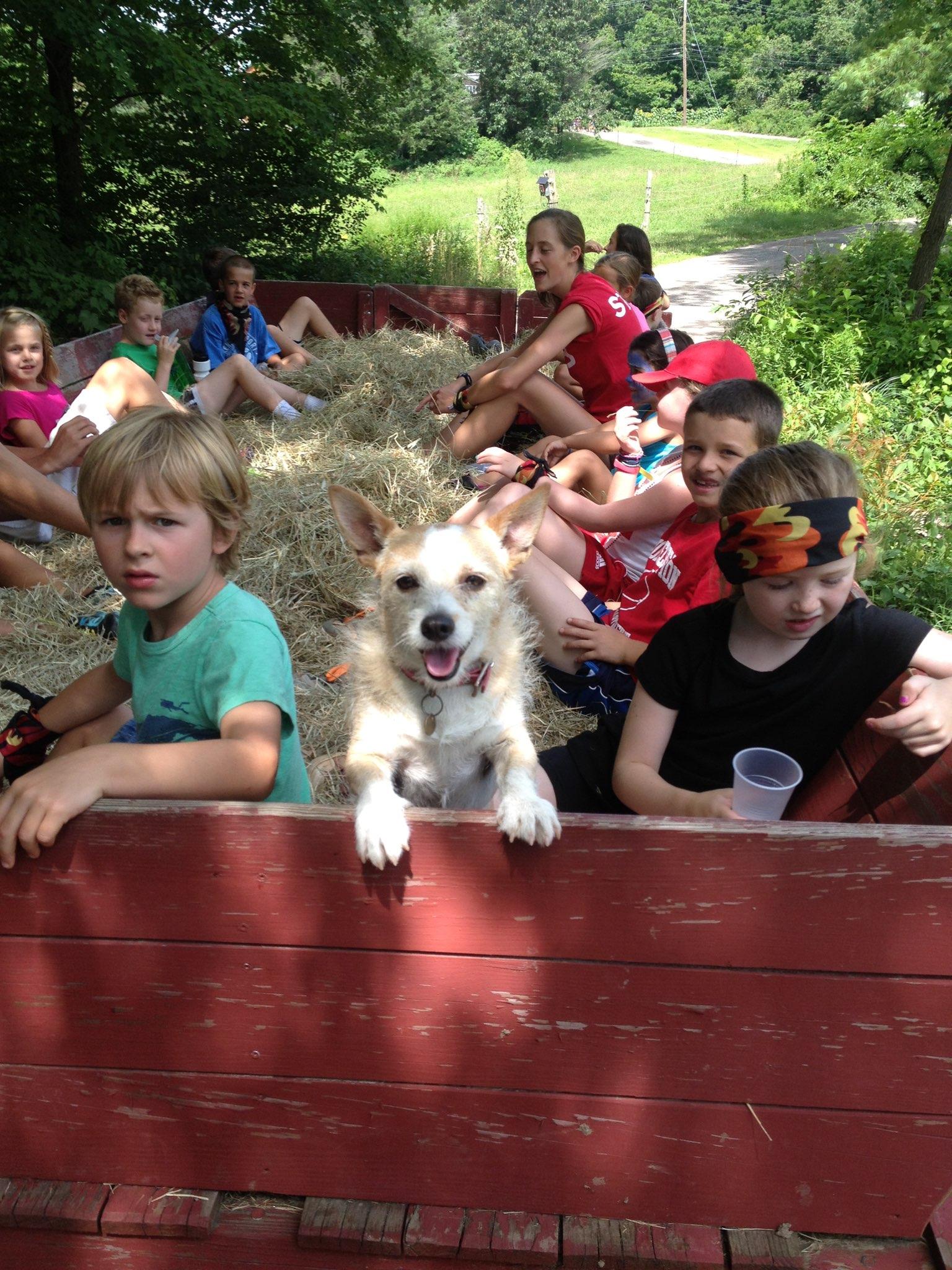 Kids on hayride